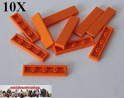 10X Lego 2431 Basic Platte Fliese Glatt 1X4 Flat Tile Gelb Yellow NEU