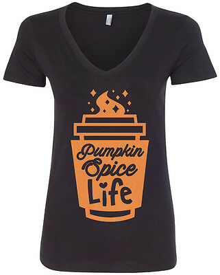 Threadrock Women/'s Pumpkin Spice Life T-shirt Fall Season Coffee