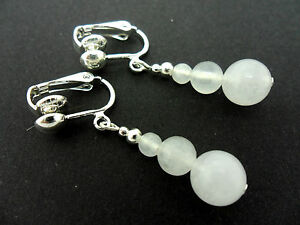 A-PAIR-OF-DANGLY-WHITE-JADE-CLIP-ON-EARRINGS-NEW