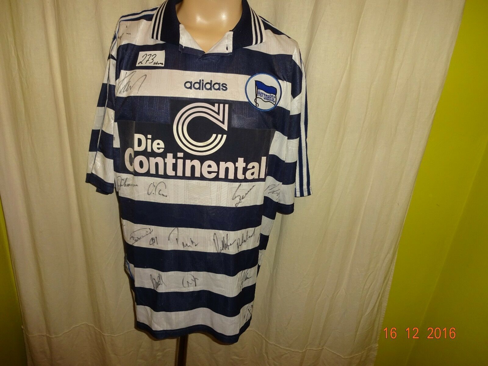 Hertha BSC BSC BSC Berlin Original Adidas Heim Trikot 1997 98 + Handsigniert Gr.XL TOP 56123d