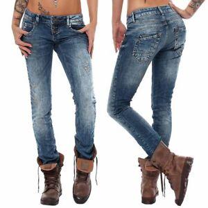5d5942ee7848 Das Bild wird geladen M-O-D-Damen-Jeans-Ulla-skinny-mozaik-blue-destroyed-