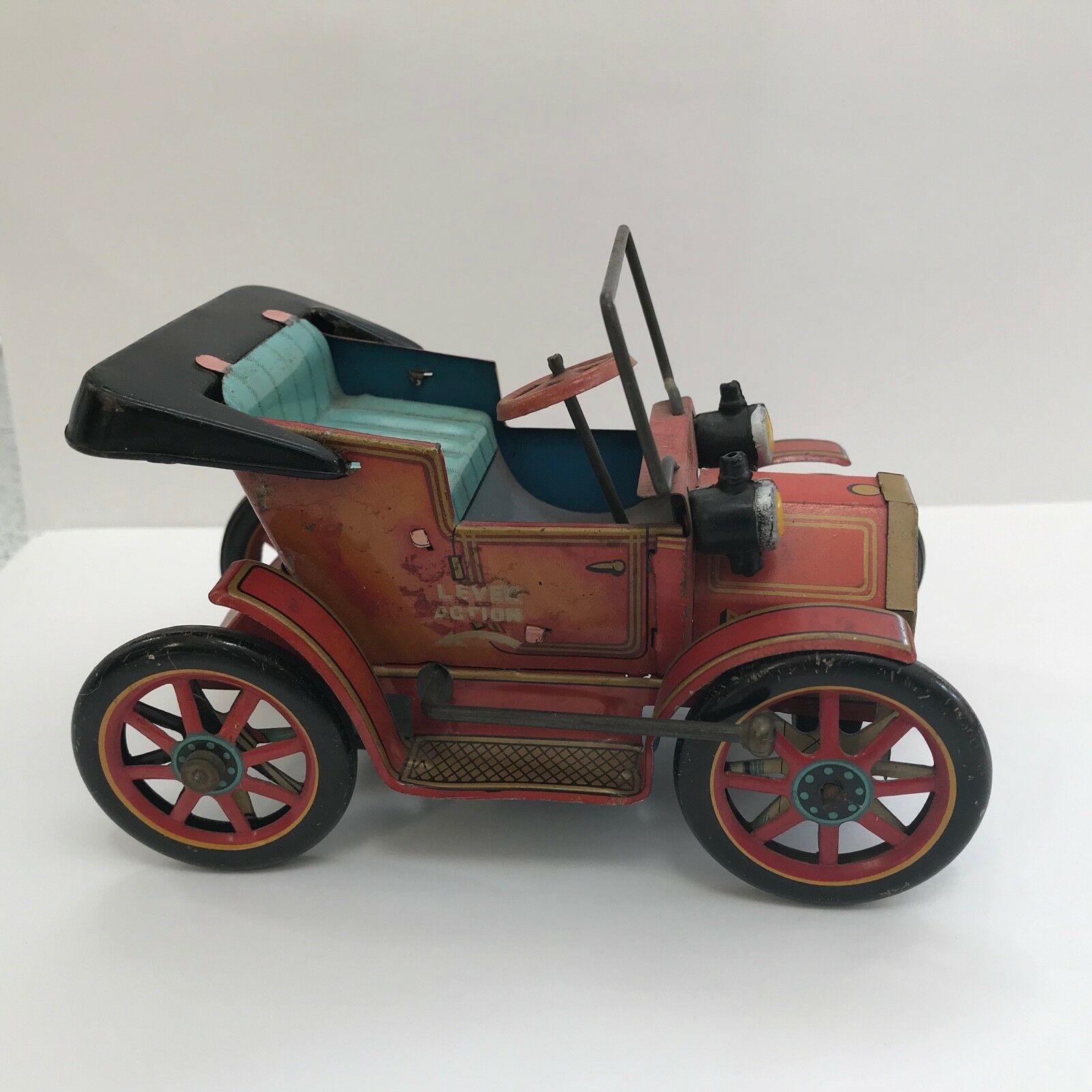 Old 1940-s 50-s TM Modern Toys Tin Lever Action Antique Style Car Japan