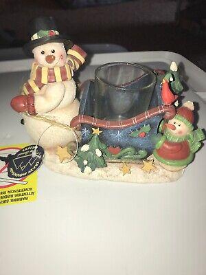 Christmas Ceramic Jug Candle Snowman Pulling Sled