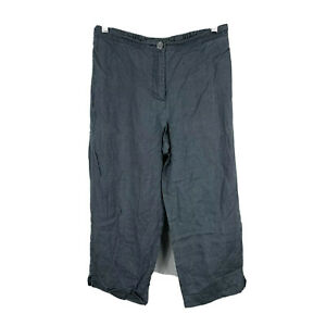 Blue-Illusion-Womens-Linen-Pants-Size-Small-Grey-Straight-Elastic-Waist