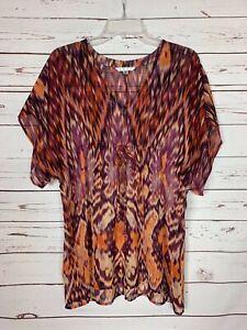 Cabi-Women-039-s-XS-Extra-Small-Orange-Boho-Kimono-Sheer-Spring-Tunic-Top-Blouse