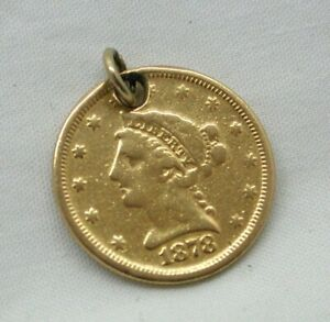 1878-Genuine-High-Carat-Gold-2-1-2-American-Dollar-Coin-Pendant