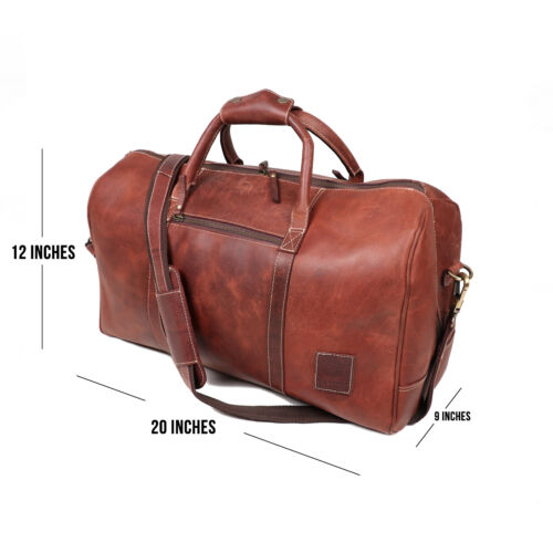 "20/"" Mens Leather Duffle Travel Bag Overnight Weekend AirCabin Carryon Luggage"