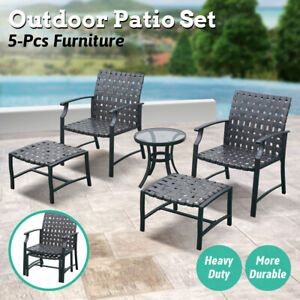 5PCS Outdoor Sectional Furniture Dining Chairs Set Table Ottoman Leisure Time