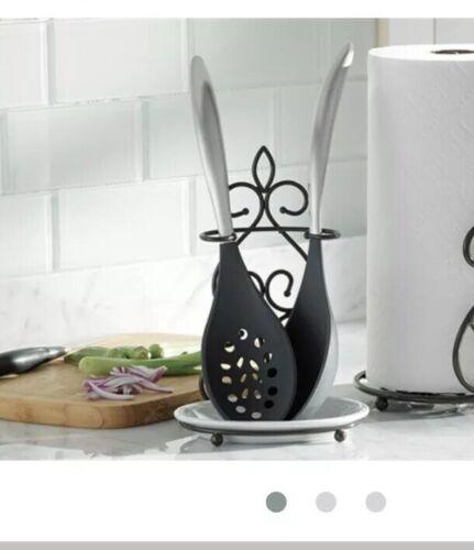 Princess House Meridian Metal Spoon Rest with Porcelain Dish #700 NIB