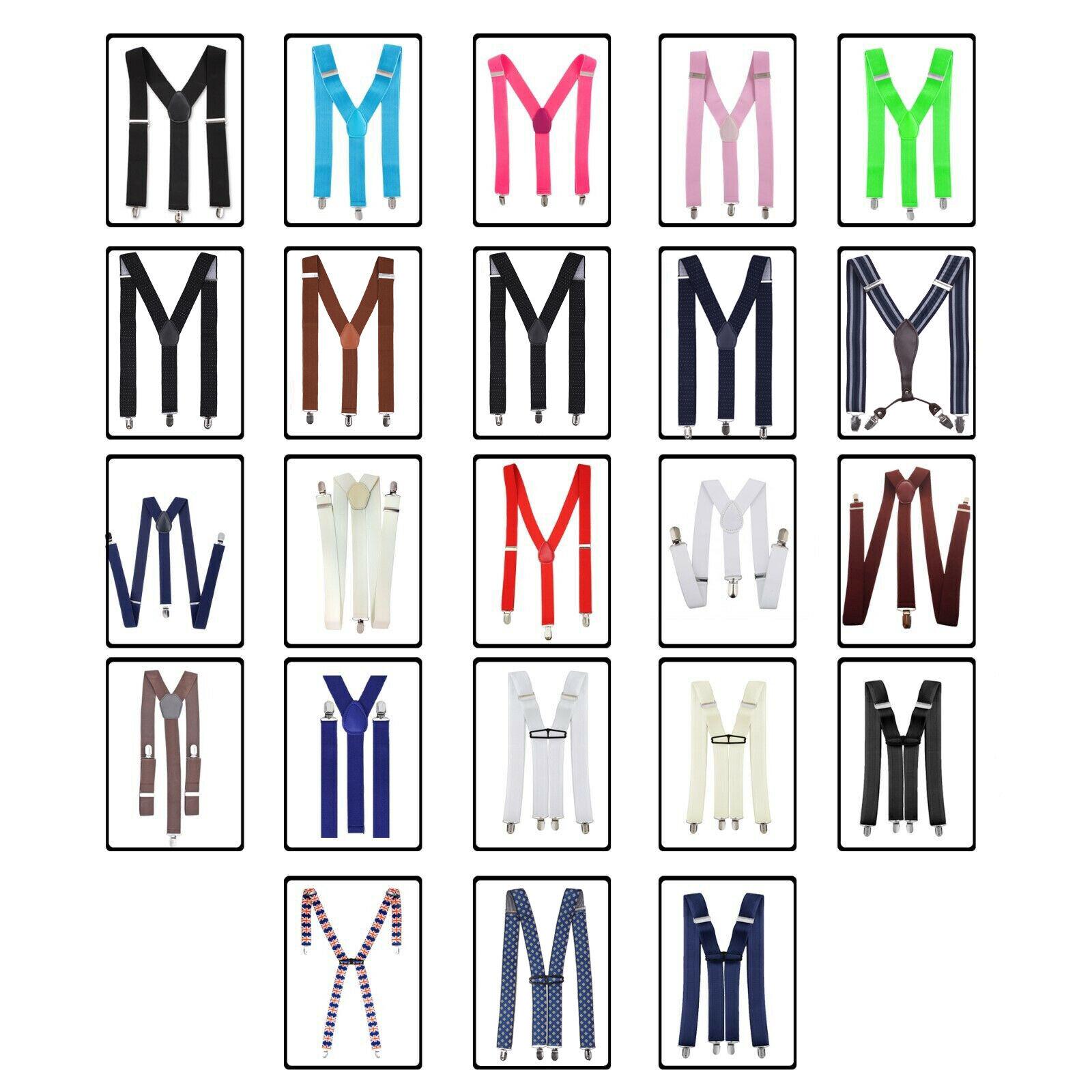 Adjustable with Metal Clip Elasticated Jeans Suits Mens Suspenders Braces 35mm