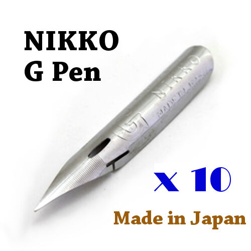 10 x Nikko G pen nib for Copperplate, Spencerian writing & Manga, Comic drawing