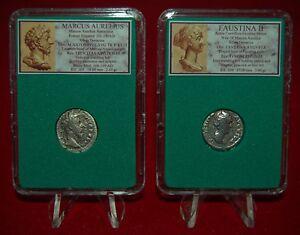 Ancient-Roman-Empire-2-Coins-MARCUS-AURELIUS-his-wife-FAUSTINA-Silver-Denarii