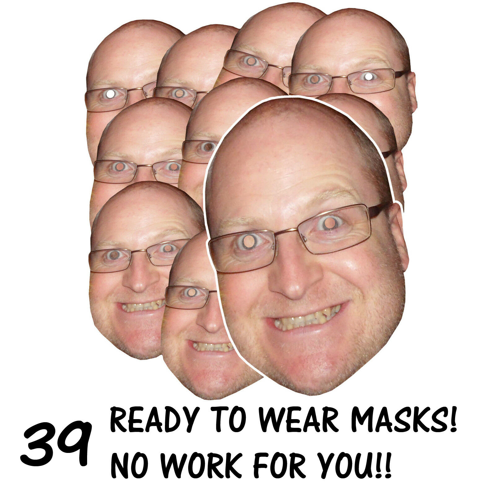 39 x PERSONALISED FUN FACE MASKS - STAG HEN PARTY - SEND US YOUR PIC - FREE P&P