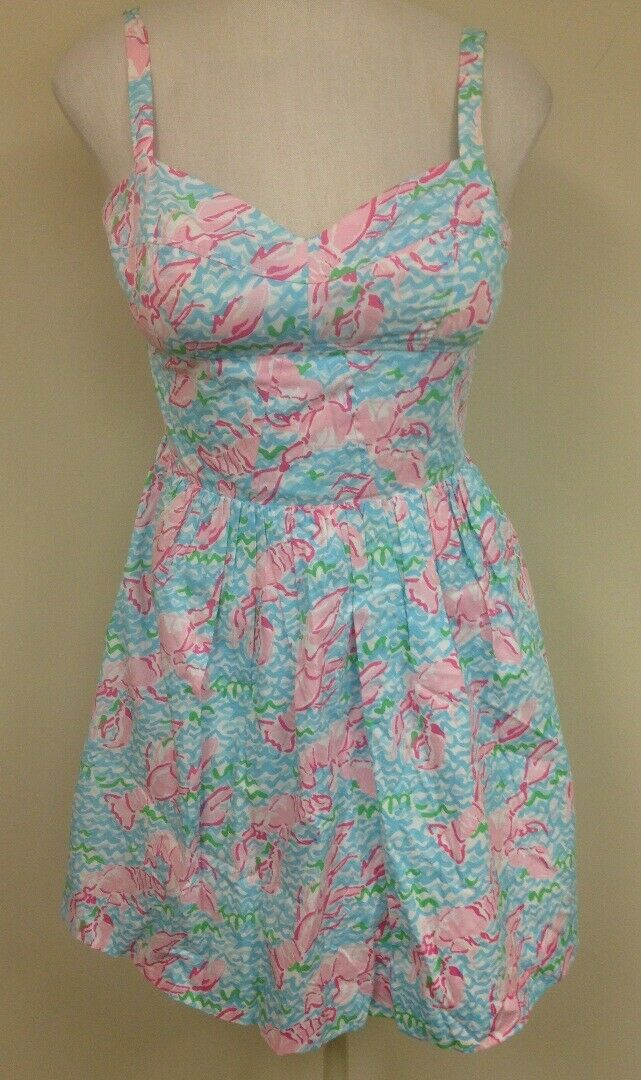 LILLY PULITZER Blau Rosa Floral Adjustable Strap Lined Cotton Dress Sz 4 GG7229