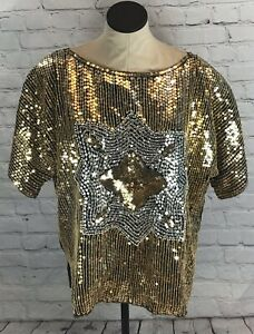 Vintage-Gold-Sequined-Top-Cotton-Castle-Size-24-Pure-Silk-Cocktail-Party-Dressy