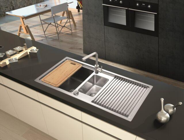 Spüle Küchenspüle Einbauspüle Mineralite Spülbecken 100 x 50 schwarz respekta