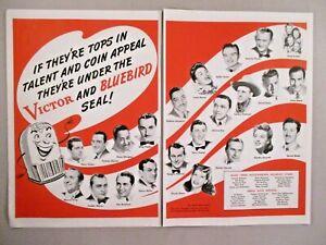Victor & Bluebird Records double-page print ad - 1944 ~~ de Nombreux artistes montré-afficher le titre d`origine IMSx94Ef-09092903-506221720