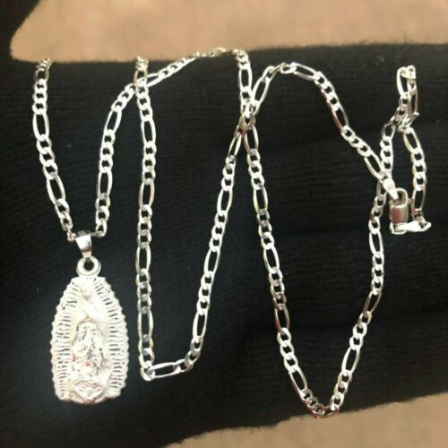 """Argent Sterling 925 Vierge Marie Guadalupe Pendentif 24/"""" Chaîne"""