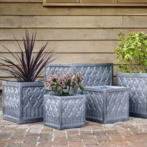 32cm Clayfibre Faux Lead Mayfield Square Garden Planter//Box Flower Plant Pot