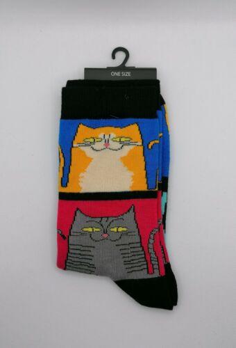 Nouveauté Unisexe Chaussettes Happy Cat Imprimé Animal Multicolore Meilleur Cadeau de Noël