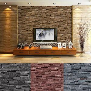 Image Is Loading 33ft PVC Wallpaper 3D Effect Slate Bricks Rustic