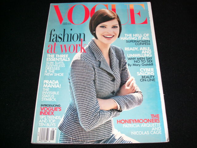 "VOGUE US Magazine<>AUGUST 1995<>Cover Photo:LINDA EVANGELISTA<>""NO ADDRESS LABEL"