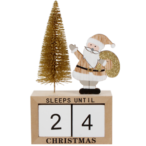 Sleeps Until Til Christmas Count Down Date Blocks Stand Decoration