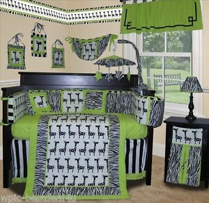 Image Is Loading Baby Boutique Lime Zebra 13 Pcs Crib Nursery