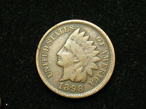 VERY-FINE-1898-INDIAN-HEAD-CENT-PENNY-w-PARTIAL-LIBERTY-amp-SOME-DIAMONDS-13v