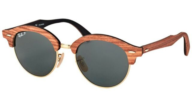 a7f0ad231a Ray-Ban Clubround Wood Men s Polarized Sunglasses with Brown Gold Black  Frame and Green Classic G-15 Lens