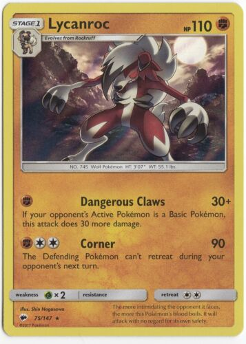 Pokemon Card Lycanroc Holo Rare Burning Shadows 75//147