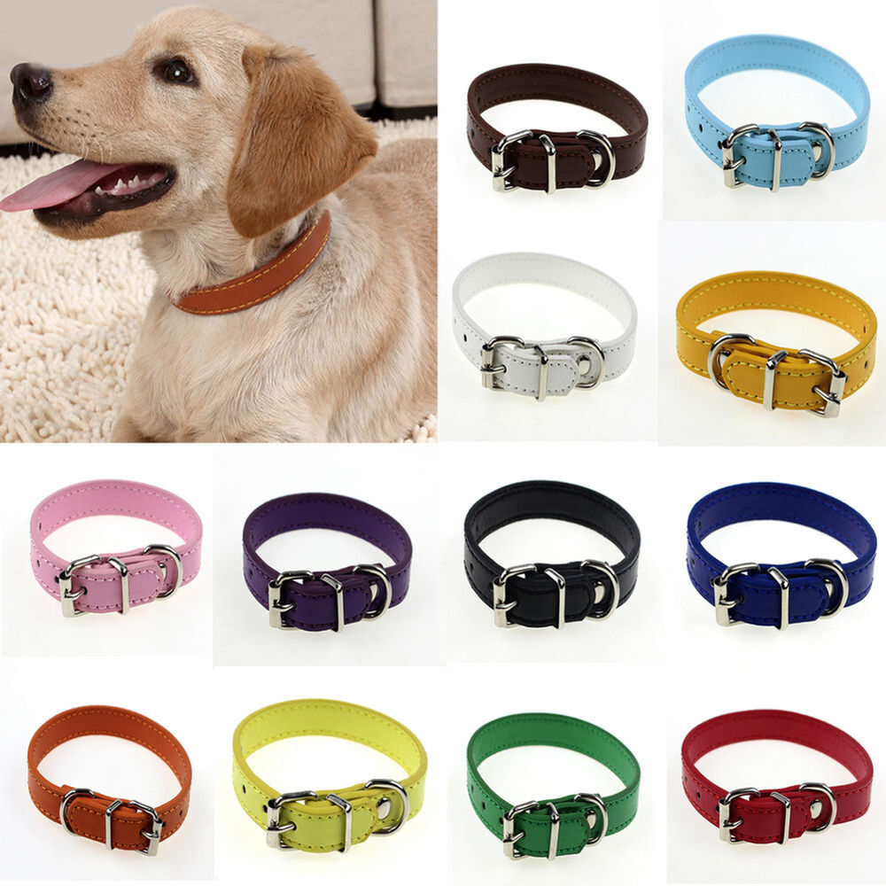 HK- Adjustable Small Pet Dog Faux leather Collar Puppy Cat Buckle Neck S/M Collars
