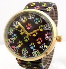 Paw Print Wrist Watch Dog Cat Colorful Footprints Quartz Fun Stretch Band