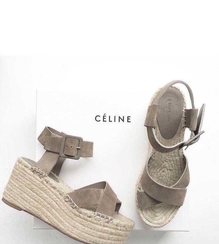 NIB Authentic CELINE Paris criss-cross platform espadrilles sandals size 41 EU