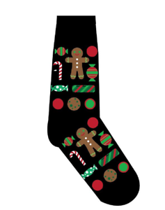 Candy Women/'s Crew Socks by Yo Sox CHRISTMAS CANDYLAND Gingerbread Man