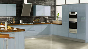 Image Is Loading High Gloss Handleless Complete Ed Kitchen Pale Blue