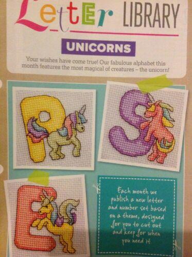 I la Fantasía Unicornio Alfabeto ABC números Cuadro De Punto De Cruz