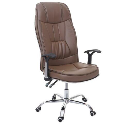 B-Ware Bürostuhl MCW-F14 Drehstuhl 150kg belastbar Kunstleder braun