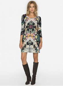 JOHNNY-WAS-Scoop-Neck-NELSONA-Long-Sleeve-Floral-Print-Tunic-Dress-S-225