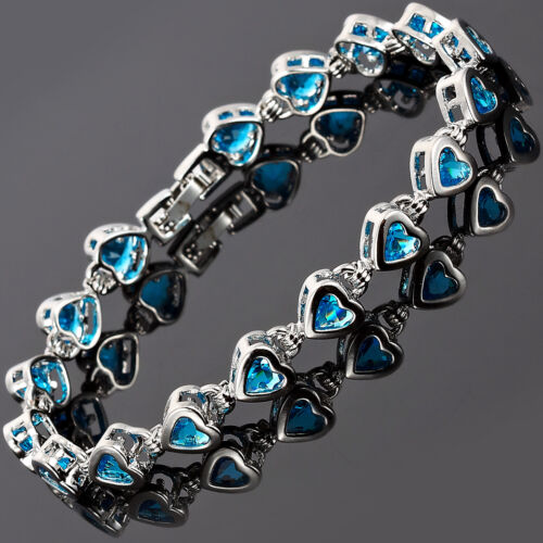Fashion Wedding Jewelry Aquamarine 18K White Gold Plated Heart Cut Bracelet