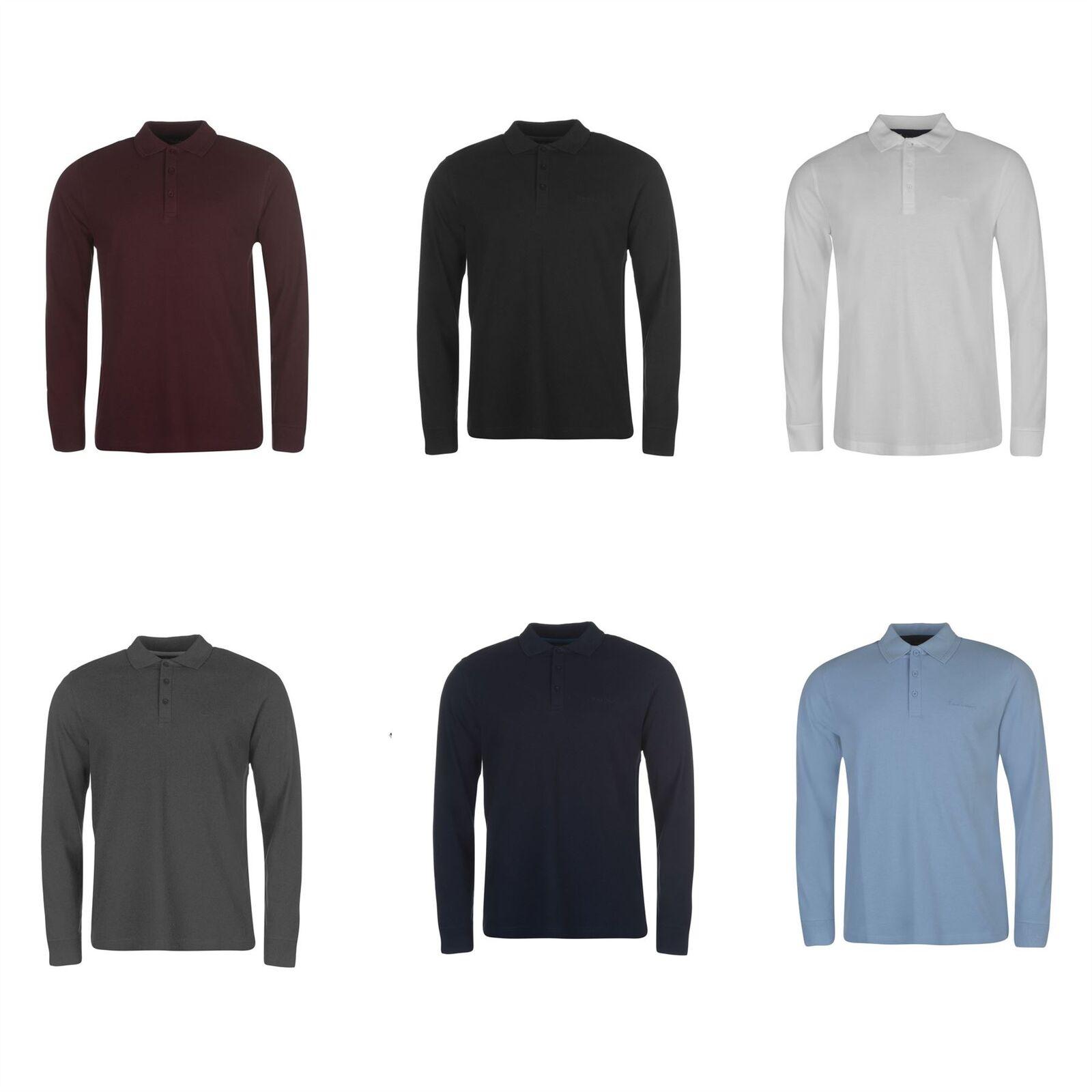 Pierre Cardin Long Sleeve Plain Polo Shirt Mens Top Tee Casual T-Shirt
