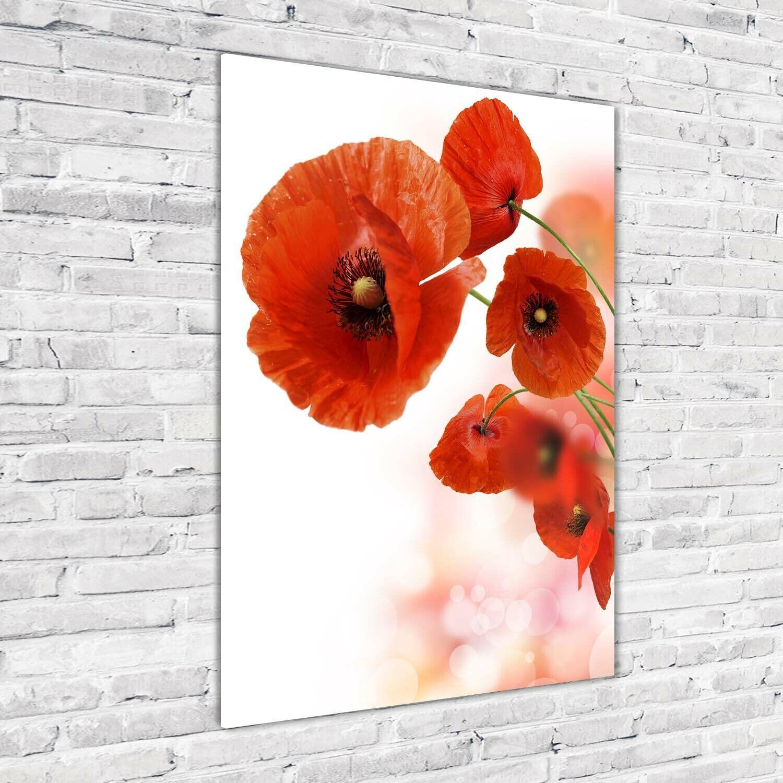 Wand-Bild Kunstdruck aus Hart-Glas Hochformat 70x100 MohnBlaumen