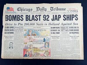 Bombs-Blast-92-Japan-Ships-1944-Old-Newspaper-Chicago-Tribune-Sep-29