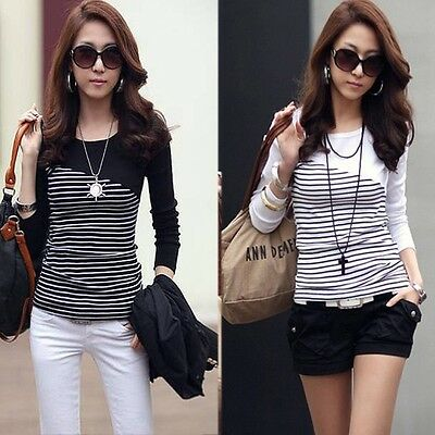 Korean Women's Striped Slim Long Sleeve Casual Career Tops Blouse T-shirt 3Color