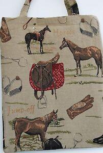 Pferde Tasche Gobelin Einkaufsbeutel Reitsport Sattel Stiefel Reiter Horses