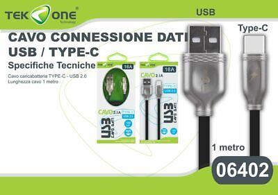 Cavo Dati Usb Tekone 16a Connettore Type-c Tipo C 2.1a 1mt Smartphone Hsb