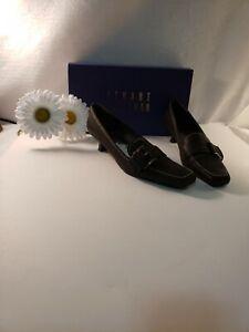 Stuart-Weitzman-Women-039-s-039-Graphite-Angel-039-Black-Leather-Dress-Shoes-Size-8-N