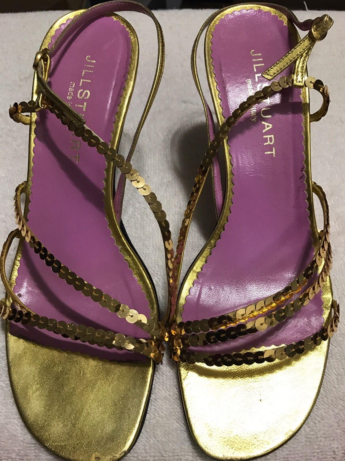 JILL Stuart leather Ladies 7 M SANDALS SANDALS M . Sequin Strap HEELS SHOES Italy. 8b22e2