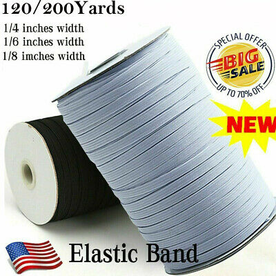 1//8in 1//4in 200 Yards Braided Elastic Band Cord Knit Band Sewing DIY Band Lot