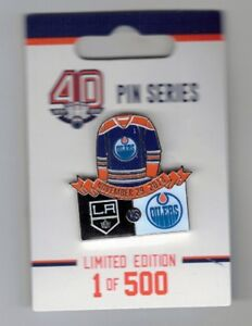 huge selection of df1d6 71f54 Details about NHL Edmonton Oilers 40th Anniversary Season v Los Angeles  Kings Hockey Lapel Pin